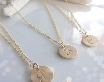 Gold Initial Necklace in French Script