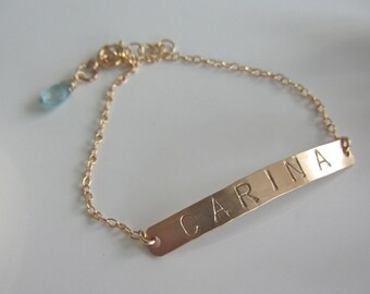 ID Bracelet in Gold - Hand Stamped and Personalized with a Briolette Birthstone