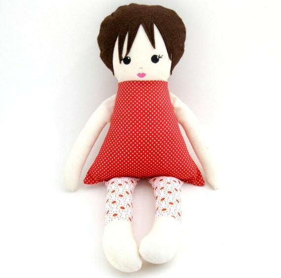 Handmade Cloth rag doll red polka dot dress brown hair