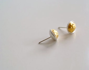 Gold Stud Earrings, Pod Earrings, Keum Boo, Round Stud Earrings, Sterling Silver Post Earrings, Jewelry, Woodland Jewelry, Wedding Jewelry