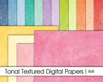 Digital Paper Pack. 8x8 Tonal Textures. Digital Scrapbook. Instant Download. Personal and Limited Commercial.