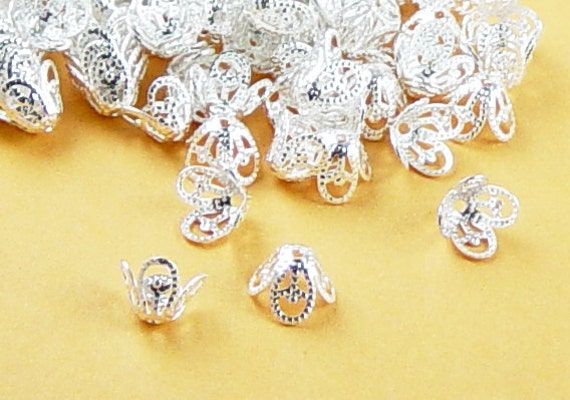 Silver Bead Cap 24 Silver Color 4 Point Flower Filigree Victorian 8mm x 6mm (1048cap08s1)