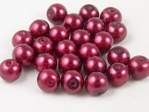 Glass Pearl Bead 25 Round Pearlized Garnet January Birthstone Dyed 8mm (1012prl08-01)