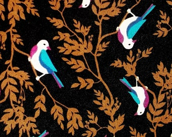 BIRDS beautiful colorful bird fabric BTY