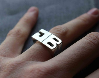 XL Personal Ring Sterling silver, Signet ring, Name Initials ring, Monogram Ring, Made to order For Him - Sizes 6 to 15 - 2 or 3 Letters