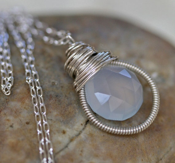 Chalcedony Necklace - Blue Gray Pendant - Gray Necklace -