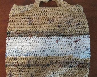 "Upcycled Plarn Crochet Bag, 11""x10"""