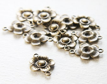12pcs Antique Brass Tone Base Metal Link - Flower 23x17mm (15153Y-J-102)