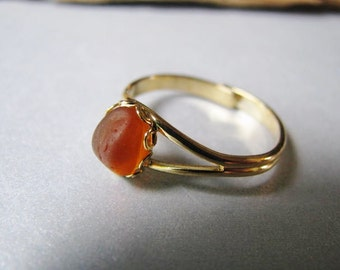 Amber Sea Glass - Sea Glass Ring - Goldtone Ring - Beach Glass Jewelry