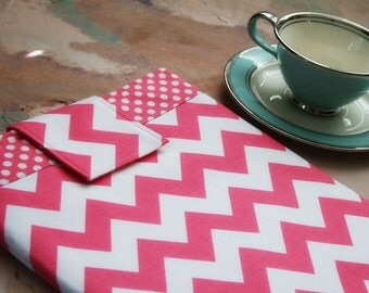 Kindle Case, Kindle Sleeve, Nook Case, Ereader Sleeve, Cover in Pink Chevron Stripe