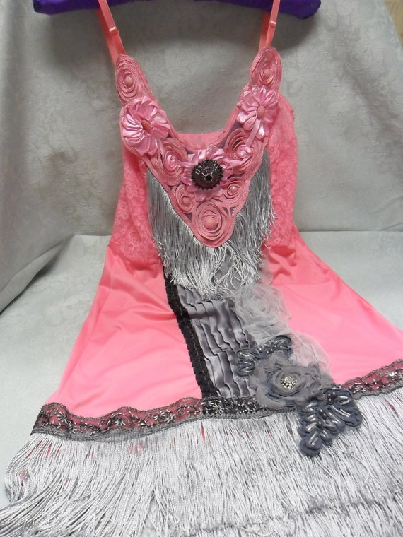1920s FLAPPER Roaring 20s Jazz Age Speakeasy Great Gatsby - Vintage Slip Make Over - Grey and Pink