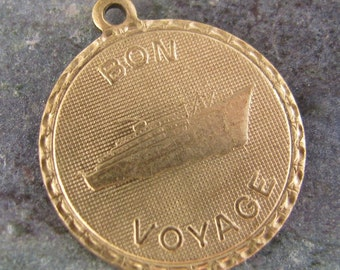 Bon Voyage French Brass Charms Jewelry Finding 651 - 6 Pieces