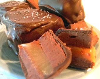 Dark Chocolate Salted Caramel Fudgeamels - Eight Large Fudge & Caramel Sandwiches - 2 2/3 Pounds Total