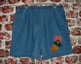 "Denim Shorts, Size XL, Upcycled, Urban Cowgirl from""Pretty in Plus"""