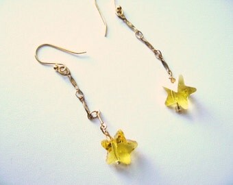 Twinkle Twinkle .... dangling yellow crystal star earrings ..  #512