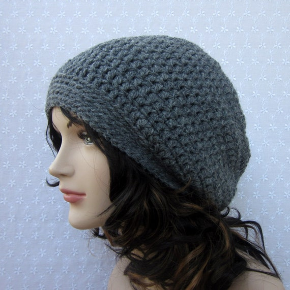 Charcoal Gray Slouchy Crochet Hat - Womens Slouch Beanie - Oversized Cap - Fall Winter  Fashion Accessories