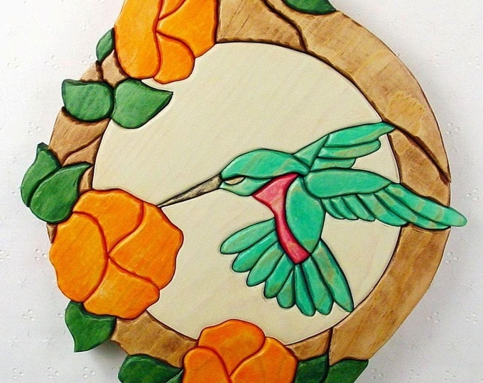 Featured listing image: Handcrafted Wooden Intarsia Hummingbird Flower Wall Art Plaque Hanging