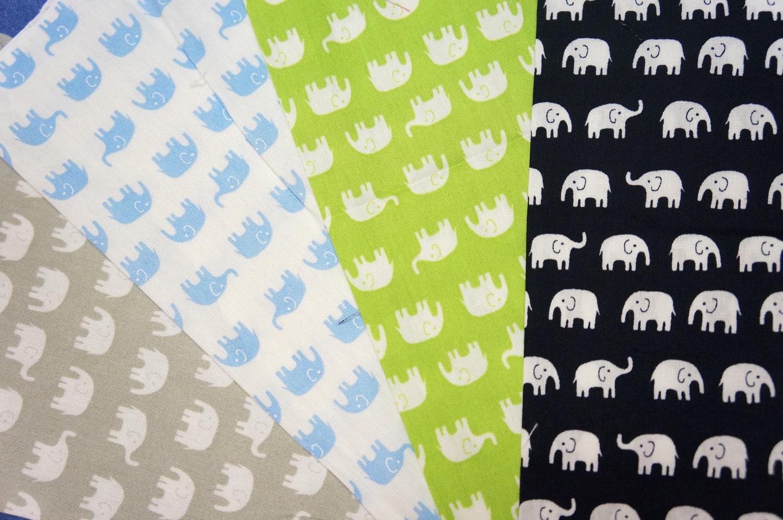 Tiny elephant print fabric scraps set of 4 colos si12 for Elephant fabric