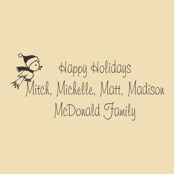 Happy Holidays McDonald Family Custom Rubber Stamp Design HOL R001