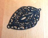 Steampunk filigree, large metal shield filigree EBONY black hand altered jewelry finding focal 2 pcs, leaf filigree, leaf focal