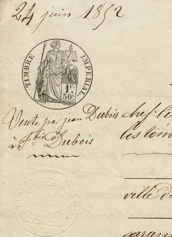Antique French Sepia Script Document 62