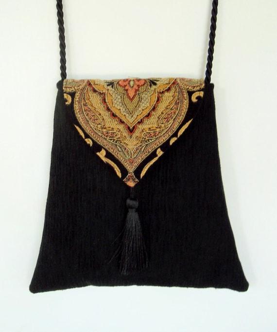 Gypsy Boho Bag  Piperscrossing Boho Bag Black Chenille Crossbody Purse