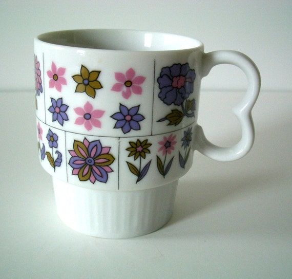 Vintage Mug with Pink, Purple and Green Flowers