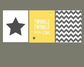 SALE 50 % OFF - Twinkle Twinkle Little Star - yellow and gray- chevron - set of 3 - nursery art - 8x10 on A4