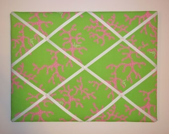 New memo board made with Lilly Pulitzer Coral Me Crazy fabric