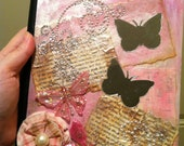 Altered Art Mixed Media Journal Composition Book Handmade Lined Pretty in Pink Shabby Chic Diary