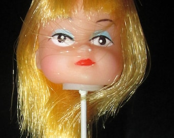 Vintage Small Doll Head on a Stick  - Set of 3