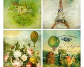 Balloons Collage Sheet--French --Digital Scrapbooking-Digital Card-Digital Image