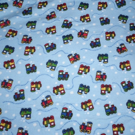 Blue train print cotton flannel prewashed 44 inches wide for Train print fabric