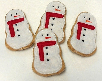 Felt food Christmas Snowman Cookies Set Of 4 stocking stuffers.  Play food Pretend food Perfect for play kitchens #PF2563