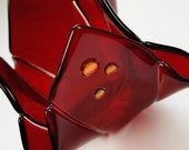 Deep Red Fused Glass Candle Holder - Vase