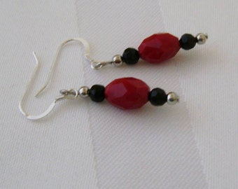 Earrings Red and Black Faceted Czech Glass Sterling Silver Earrings