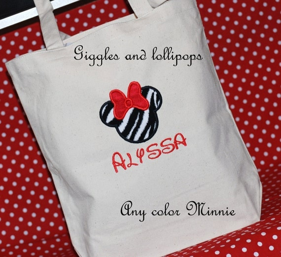 Girls boys personalized Disney Minnie Mouse Mickey autograph vacation canvas tote bag Disney Cruise flowergirl and bridesmaid bag