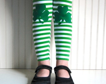 Shamrock Leggings St Patrick's Day Leggings Irish Leggings Lucky leggings - Girls Sizes 2T, 3T, 4 / 5, 6 / 7, 8, 10 - by The Trendy Tot