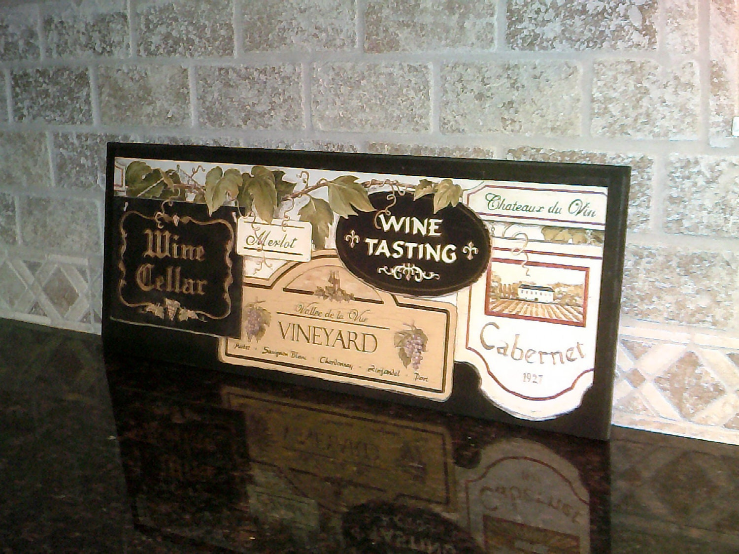 Wine Cellar Wall Decor Plaque Tuscany Kitchen Wooden Sign