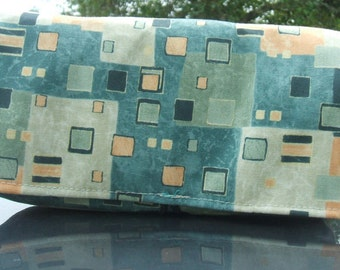 Coupon Organizer Holder Green Gold Squares and Rectangles Fabric