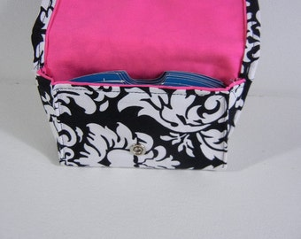 Grocery Card Holder, Gift Card Carrier, Credit Card Wallet,  Damask Fabric with Pink Lining