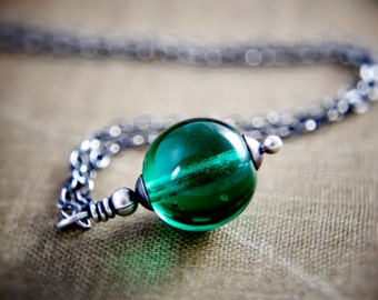 Emerald Glass Necklace Round Pendant Silver May Birthstone