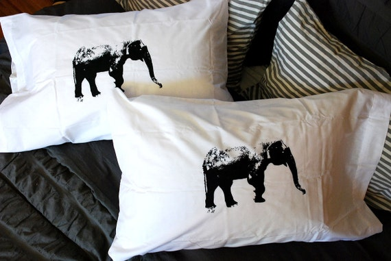 Elephant Hand Screen Printed Pillowcases Set of Two