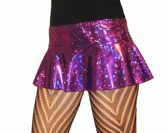Holographic Micro MIni Skirt Shiny Sparkles Rave Poller Derby