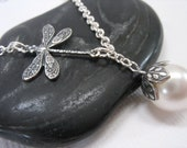 Dragonfly Necklace with Swarovski Pearl - Antiqued Sterling Silver - White Pearl - Bridal Necklace - DamselflyDesignsCo