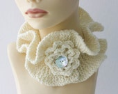 White  Neck Warmer  Flower,  Ruffled Scarf  Collar,  Woman's Neckwarmer, Cowl Scarf - beadedwire