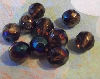 Czech Beads, 10mm, Smokey Topaz Azuro, 10 pcs.  no 1471h