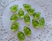Sale - CZECH Glass LEAF Beads/GREEN Leaf Beads/12mm Leaf Beads/Pudgy Leaves/Translucent Leaf Beads/Chunky Green Leaf Beads/Curvy Leaf Beads