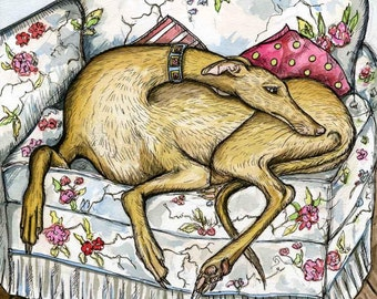 Greyhound Dog Print by Elle J Wilson