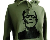 Frankenstein Hoodie - Classic Horror Monster Green Sweatshirt - Unisex Sizes S, M, L, XL